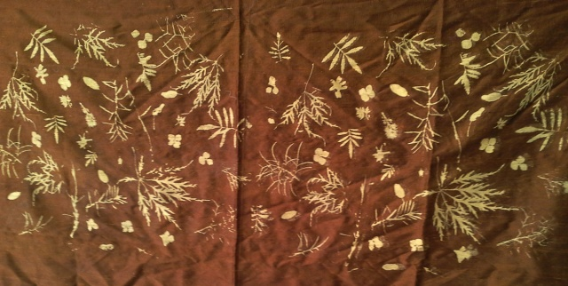 one of my first leaf prints in gold on copper brown dupioni silk from 1998-the last century!