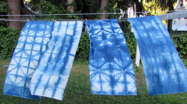 off white linen with indigo itajime shibori style